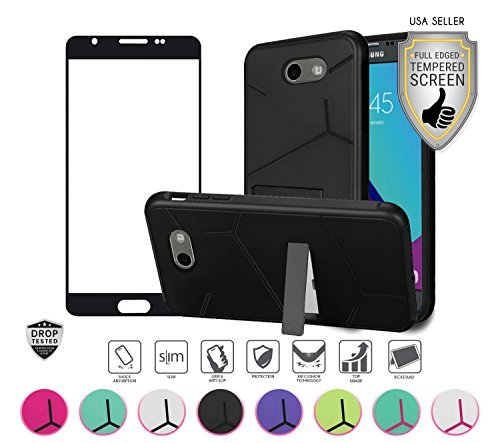 Samsung Galaxy J3 Emerge Case, with Full Edged Tempered Glass Screen Protector, Slim Hybrid with [Kickstand] Shock Proof Case Cover (Black/Black) - Kickstand Case Screen Protector