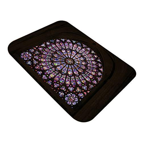 Cathy Clara Notre Dame de Paris Pattern Square Area Rug Fleece Kitchen Bathroom 40X60CM ()