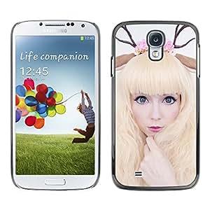 Qstar Arte & diseño plástico duro Fundas Cover Cubre Hard Case Cover para SAMSUNG Galaxy S4 IV / i9500 / i9515 / i9505G / SGH-i337 ( Horns Art Deer Woman Blonde Fairy White)