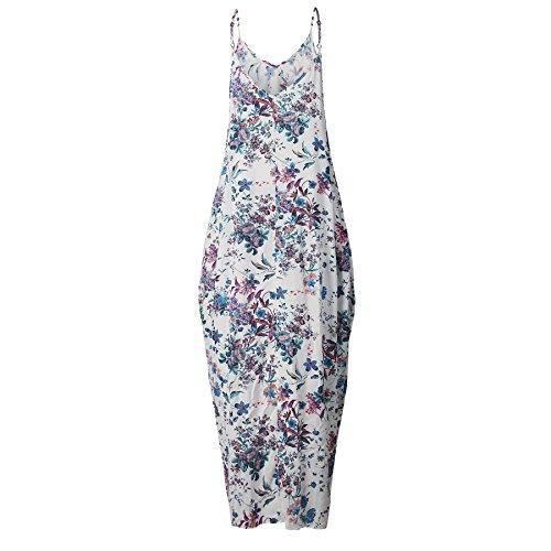 Longwu Las mujeres sueltan bajo V escote espaguetis correas Maxi vestido Beach Wear Azul