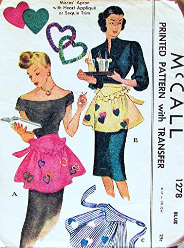 McCalls 1278 Vintage Misses Arpon Sewing Pattern with Heart Applique' or Sequin Trim, One Size Fits All