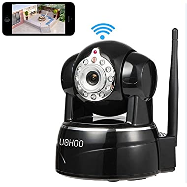 IP Camera, Uokoo 720P WiFi Security Camera Internet Surveillance Camera Built-in Microphone,Pan/Tilt with 2-Way Audio, Baby Video Monitor Nanny Cam, Night Vision Wireless IP Webcam (Black-720P)