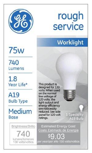 GE Rough Service Work Light 72530 67-Watt, 740-Lumen A19 Light Bulb with Medium Base, 6-Pack by GE Lighting (Image #1)