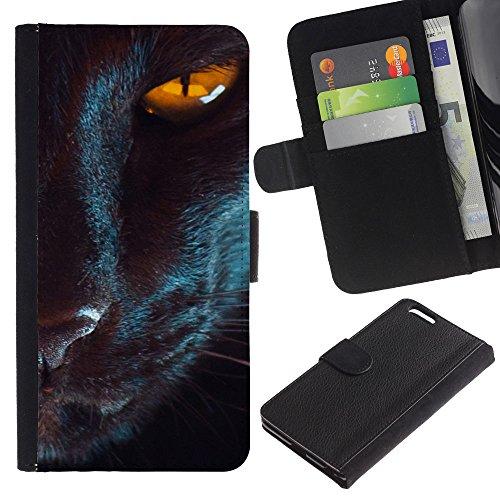 Billetera de Cuero Caso Titular de la tarjeta Carcasa Funda para Apple Iphone 6 PLUS 5.5 / Oriental Cat Eye Mystical Black Yellow / STRONG