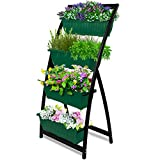 build a planter box 6-Ft Raised Garden Bed - Vertical Garden Freestanding Elevated Planter with 4 Container Boxes - Good for Patio or Balcony Indoor and Outdoor - Cascading Water Drainage (1-Pack/Forest Green)