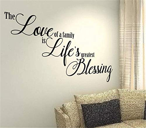 (Coiuyz Wall Decal Wall Written Vinyl Wall Decals Quotes Sayings Words Art Deco Lettering The Love of A Family is Life's Greatest Blessing)