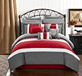 Chic Home CS1143-AN Pisa 16 Piece Bed in A Bag Comforter Set, Red, Queen