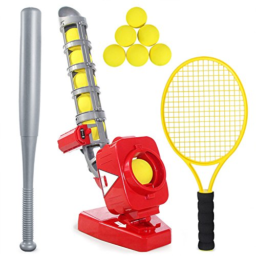 (heytech Baseball Tennis Pitching Game Machines Training Learning Early Development Active Toys Outdoors Sports Gaming Kids Toy (red))