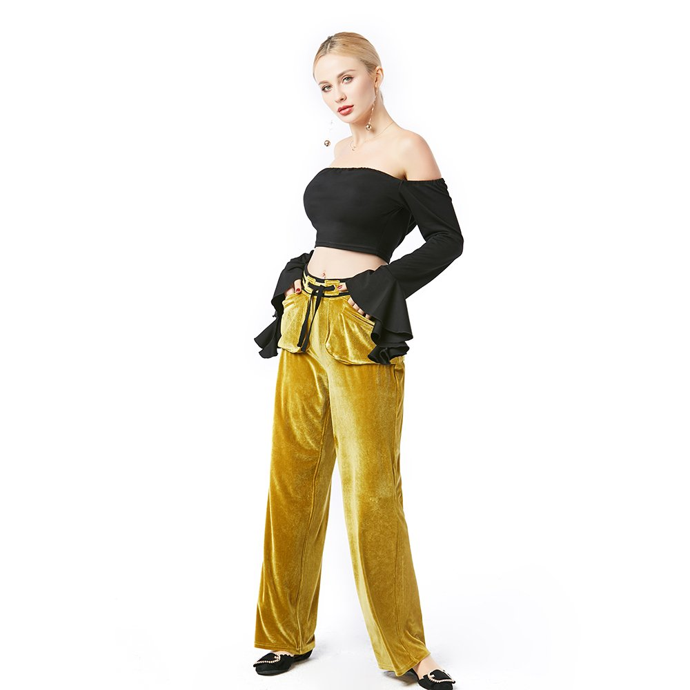 Beauty Garden Casual Loose Solid Long Pants Olive Green Elastic Waist Velour Fashion Female Pants by Beauty Garden (Image #4)