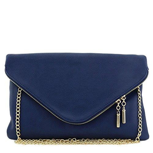 Navy Faux Suede Clutch Bag - 9