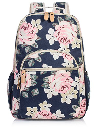 Large Backpack for Women, Floral College Student School Backpack Book Laptop Bag Cute Knapsack Daypack Dark Blue (College For Backpack Women)