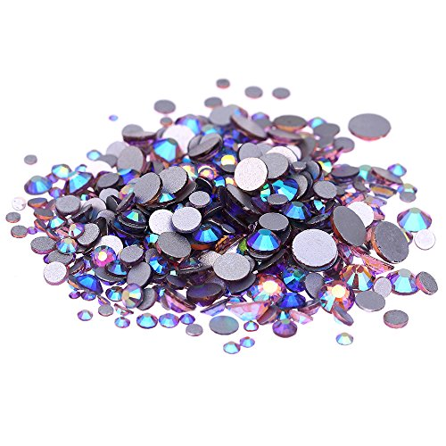 Nizi Jewelry Crystal Non Hotfix Rhinestones Glass Gems Strass Nail Art Decorations Light Amethyst AB Color (ss20 1440pcs)