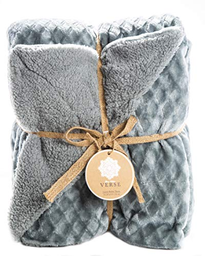 ReLive Reversible Velvet Luxury Berber Throw Blanket 50x60 (Seafoam Blue) ()