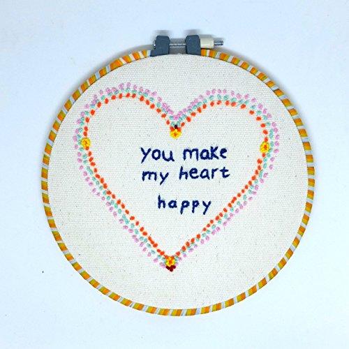 Embroidery Hoop Art Kit Handmade Cross Stitch Art Craft Sewing (Happy Pattern) from Matamade