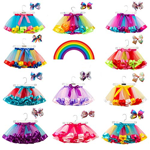 Best Dress Up Websites (Toddlers Girls Rainbow Tutu Skirt with Headband,Tulle Layered Ballet Skirts Little Girls Dressing Up Dancing Party)