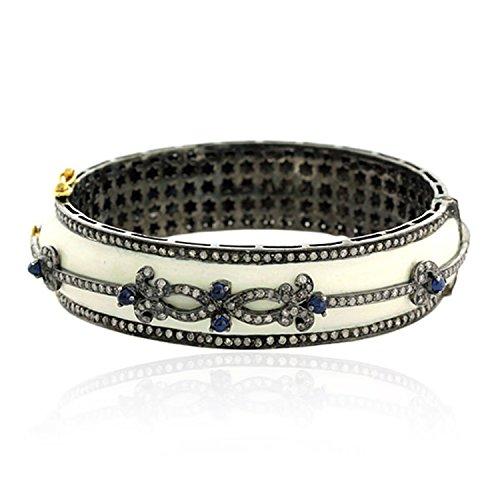 18K Yellow Gold Handmade Bangles Blue Sapphire and Pave Diamond Silver Jewelry