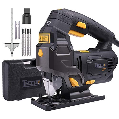 Jigsaw, TECCPO 3000SPM Jig Saw with Laser Guide, 6.5 Amp, 6pcs Blades, Carrying Case, 78.74 Inches Cord Length, Scale Ruler, Bevel Cutting Angle, Variable Speed Dial (1-6) - TAJS01P