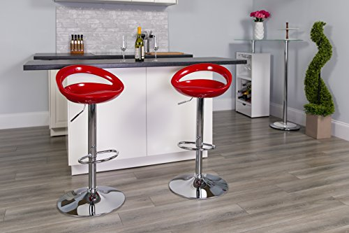Contemporary Black Plastic Adjustable Height Barstool with Chrome Base
