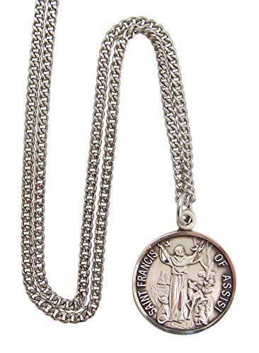 Assisi Medal - Sterling Silver Catholic Patron Saint Francis of Assisi Round Medal Pendant, 13/16 Inch