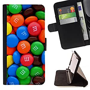 "For Samsung Galaxy E5 E500,S-type Dulces de chocolate colorido Caramelo"" - Dibujo PU billetera de cuero Funda Case Caso de la piel de la bolsa protectora"