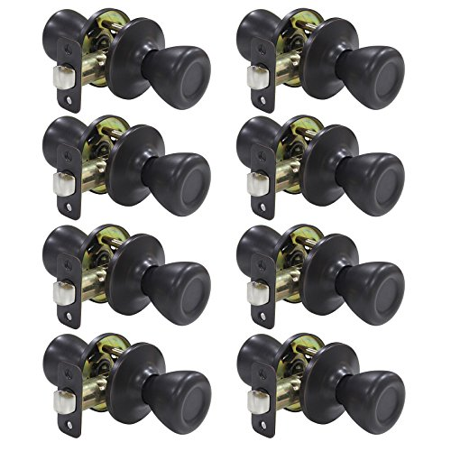 8 Pack Probrico Interior Door Lock Passage Keyless Doorknobs Door Knob without Key Door Handle Security Door Handleset Lockset Oil Rubbed Bronze-Door Knob - Interior Door Security