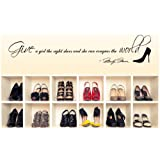"""Marilyn Monroe Give A Girl Shoes....Conquer the World Quote 45"""" Wall Decal Decor Sticker Long"""