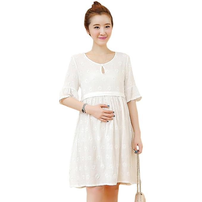 BOZEVON Vestido Lactancia de Mujer Embarazo - Moda Imprimir Premamá Blusa Maternidad de Manga Corta Verano Camiseta Vestidos: Amazon.es: Ropa y accesorios