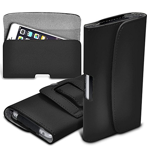 I-Sonite (Black) Premium Horizontal Faux Leather Belt Holster Pouch Cover Case With Magnetic Closure For Samsung Galaxy J3 (2017)