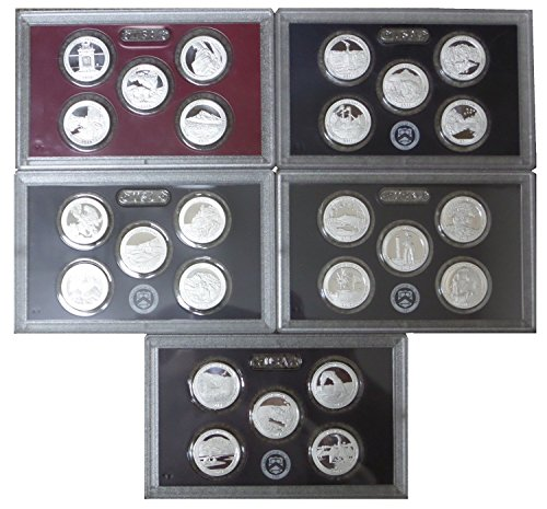 1 S 2010 – 2014 Silver 5 Coin Proof National Park Proof