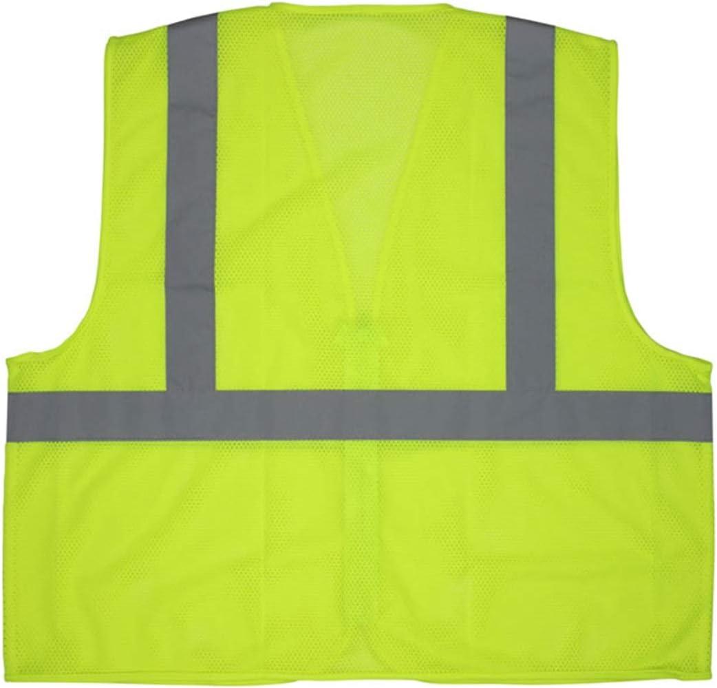 1 Inch Lime Stripes Standard Orange PVC Coated Safety Vest