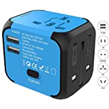 Travel Adapter, Jollyfit International Universal European Adapter 2 USB Charger US UK AUS EU Power Plug Adapter for Europe Japan Germany France Italy Russia England Laptop Cell Phones (Blue 2 USB)