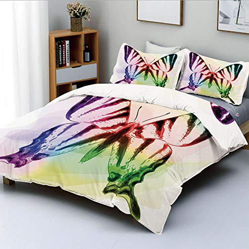 Duplex Print Duvet Cover Set Full Size,Butterfly with Rainbow Colors Fantasy Animal Artistic Dreamy DisplayDecorative 3 Piece Bedding Set with 2 Pillow Sham,Multicolor,Best Gift for Kids & Adult