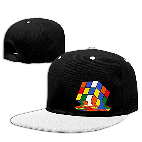 melting-rubiks-cube-adjustable-hats-flat-brim-hip-hop-hat