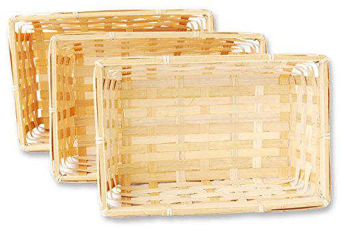 3er Korb Set rechteckige Bambuskörbchen, flacher Füllkorb ca. 24 x 16 x 7 cm, Spankorb natur