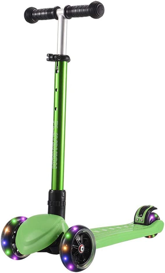 Niños Scooter Triciclo Altura Ajustable luz de la Rueda del pie Scooters con LED Infantil por 2-12 Antiguo púrpura (Color: púrpura) (Color : Green)