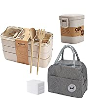 Meltset Bento Boxes Lunch Box for Kids Adults with Insulation Bags, Spoon and Fork, Stackable Meal Prep Container, Japanese Bento Lunch Box 3-In-1 Compartment Leak-proof Layered Lunch Box