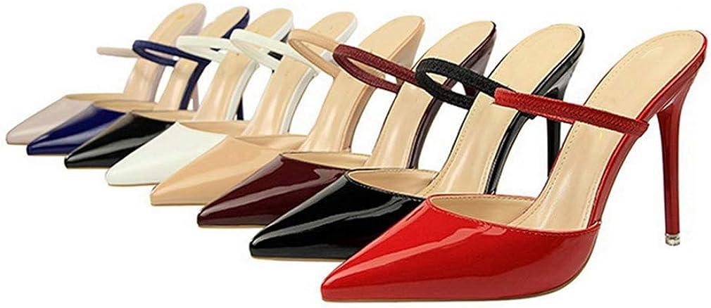Pantoufles /à Bout Pointu en Cuir Verni Verni Simple /à La Mode pour Femmes