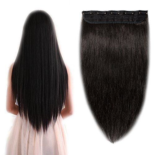 "Price comparison product image 100% Remy Clip in Hair Extensions Human Hair One Piece 16-22 inch Grade AAAAA Natural Hair 5 clips 3/4 Full Head Long Straight Thick for Women Fashion 20""/20 inch 95g ,#1B Natural Black"