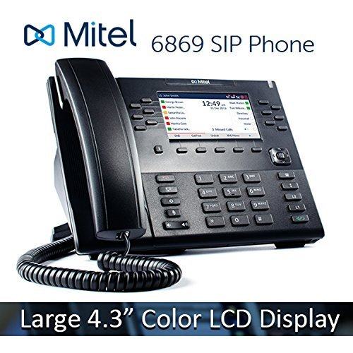 Mitel 6869 6869i VoIP 4.3' Color LCD Display HD Audio SIP Office IP Softphone Phone 80C00003AAA (Renewed) by Mitel Networks Corporation