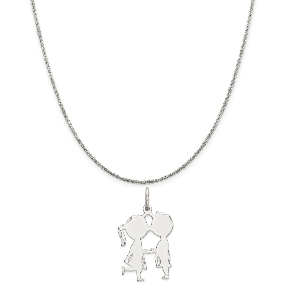16-20 Mireval Sterling Silver Engravable Boy//Girl Disc Charm on a Sterling Silver Chain Necklace