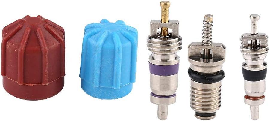 Aramox Valve Core and Cap Kit AC A//C System Cap /& Valve Cores Santech Rapid Seal Kit Air Conditioning Service Part