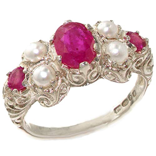 LetsBuyGold 14k White Gold Natural Ruby and Cultured Pearl Womens Cluster Ring - Sizes 4 to 12 Available