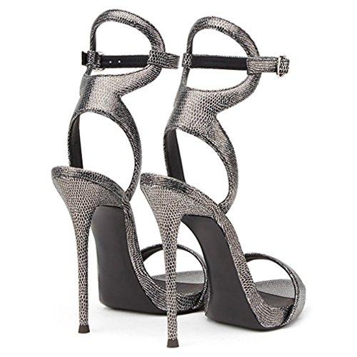 Sandales Datation Party Talons Plate Grain Clover Chaussures Lucky Boucle Pu Eu38 Dames Snakeskin forme Natural a Parti 46 Hauts Filles BYgnSqw