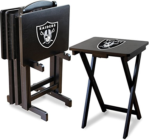 - Imperial Officially Licensed NFL Merchandise: Foldable Wood TV Tray Table Set with Stand, Oakland Raiders