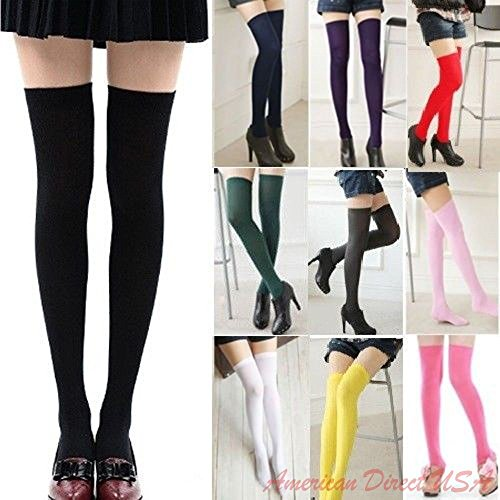 [Sexy Womens Lady Girls Fashion Opaque Knit Over Knee Thigh High Stockings Socks] (Pregnant Quinn Costume)