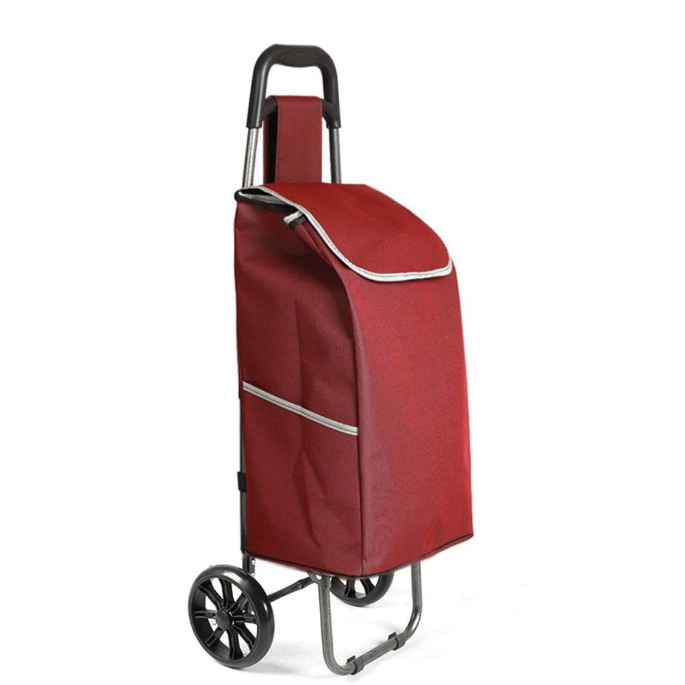ZR-ショッピングカート ポータブルショッピングカートショッピングカート折り畳み式トロリーポータブルファミリーカー小物カート -ショッピングと持ち運び (色 : Burgundy) B07FMMPVVM Burgundy Burgundy