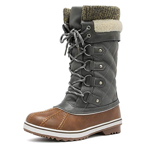 DREAM PAIRS Women's Monte_02 Tan Khaki Mid Calf Winter Snow Boots Size 9 M US (Ladies Snow Boots Size 9 Wide)