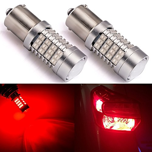 (ENDPAGE 1156 1141 1003 7506 BA15S LED Bulb 2-pack, Brilliant Red, Extremely Bright, 54-SMD with Projector Lens, 10-30V, Work as Brake Lights, Tail Lights, Turn Signal Blinkers)