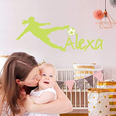 Custom Name - Soccer Player Boy Girl Mural - Baby's Mural Room Vinyl World Cup Wall Decal (Wide 40