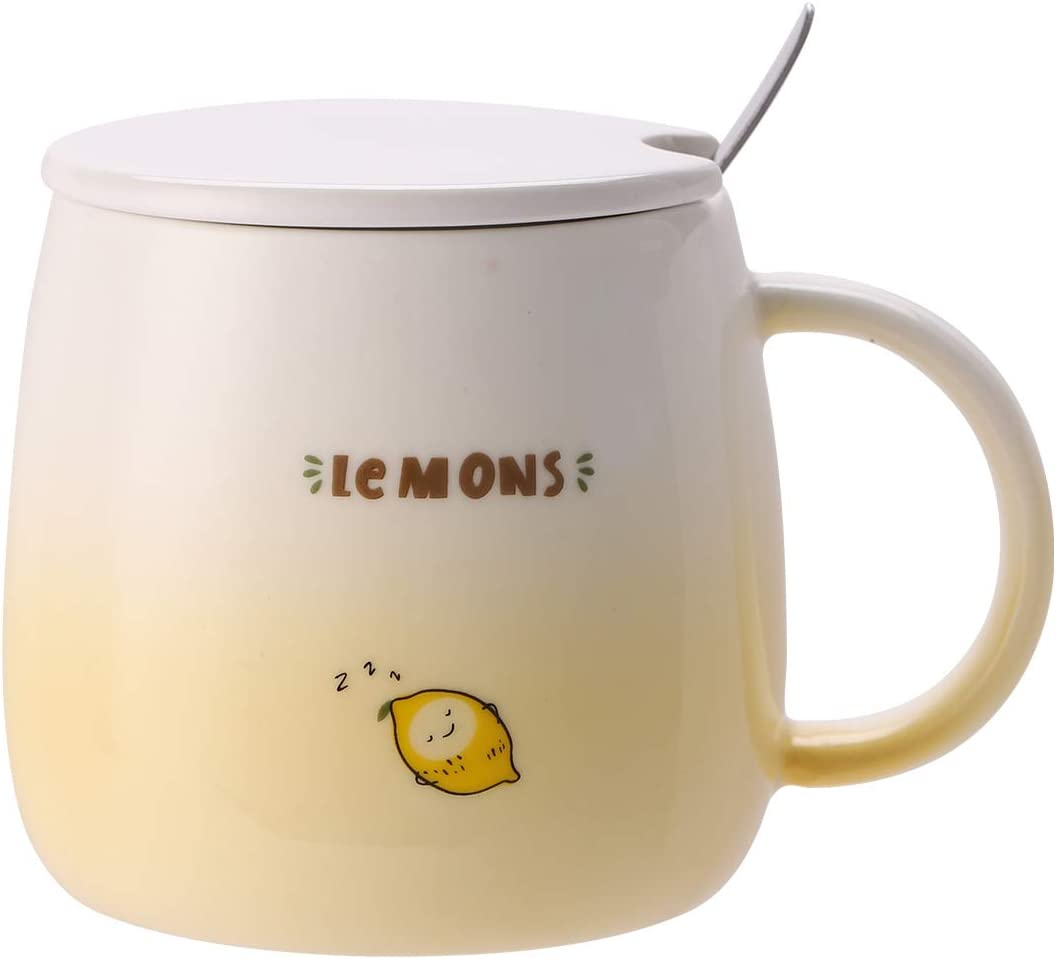 UPSTYLE 15oz Cute Ombre Lemon Ceramic Coffee Mug with Lid and Spoon Novelty Funny Fruits Tumbler the office Travel Cup To Go for Tea/Milk/Water Men and Wonmen (15oz/450ml Lemon)